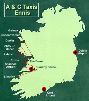 Map Of Ireland Doolin.A C Taxis Serving County Clare And Beyond